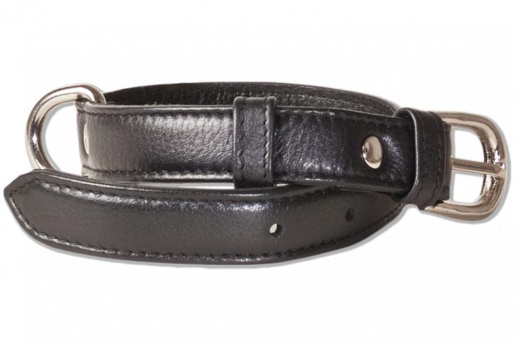 Rimbaldi® Voll-Leder Hundehalsband für kleine Hunde mit 25-35 cm Halsumfang in Schwarz