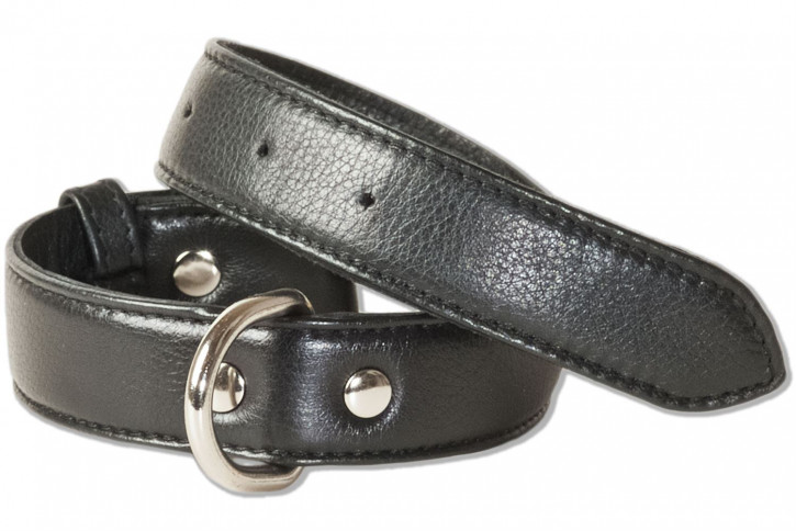 Rimbaldi® Voll-Leder Hundehalsband für mittelgroße Hunde mit 35-45 cm Halsumfang in Schwarz