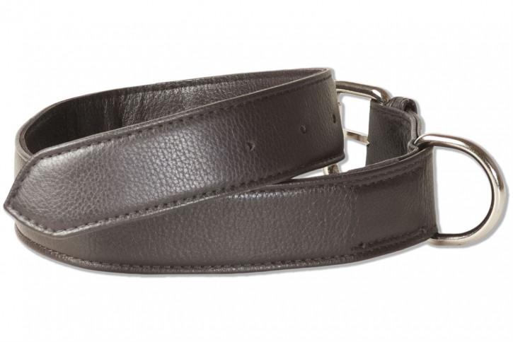 Rimbaldi® Voll-Leder Hundehalsband für mittelgroße Hunde mit 45-55 cm Halsumfang in Dunkelbraun