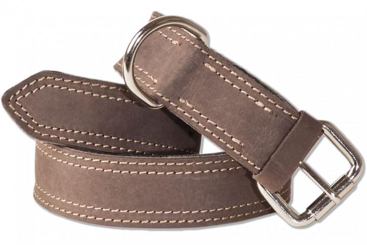 Woodland® Hundehalsband aus Büffelleder für mittelgroße Hunde mit 45-55 cm Halsumfang in Dunkelbraun/Taupe