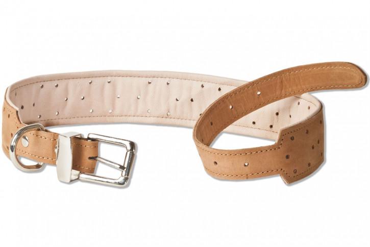 Woodland® Hundehalsband aus Büffelleder für sehr große Hunde mit 55-70 cm Halsumfang in Natur