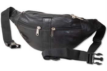 Rinaldo® Bauchtasche mit vielen Fächern aus Schafs-Nappaleder in Schwarz