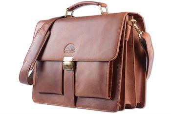WILD WOODS - Aktentasche Leder XL mit Laptopfach 15,6 Zoll große Ledertasche zum Umhängen aus Rindsleder Glatt Cognac