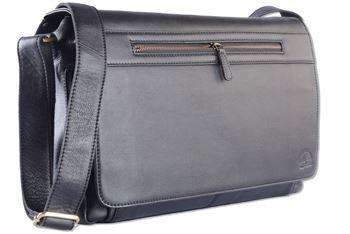 WILD WOODS - Laptop Messenger Bag Leder große Umhängetasche mit 15,6 Zoll Notebook-Fach Aktentasche für Business Büro Uni Schule in Rindsleder Schwarz