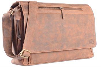 WILD WOODS - Laptop Messenger Bag Vintage Büffel Leder große Umhängetasche mit 15,6 Zoll Notebook-Fach Aktentasche für Business Büro Uni Schule Braun