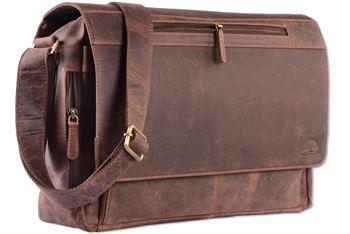 WILD WOODS - Laptop Messenger Bag Vintage Leder große Umhängetasche mit 15,6 Zoll Notebook-Fach Aktentasche für Business Büro Uni Schule Dunkelbraun