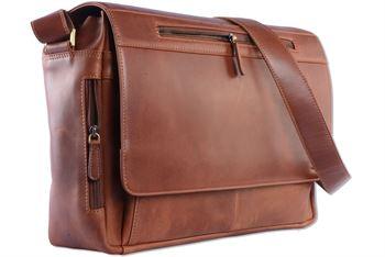 WILD WOODS - Laptop Messenger Bag Rinds Leder große Umhängetasche mit 15,6 Zoll Notebook-Fach Aktentasche für Business Büro Uni Schule in Cognac
