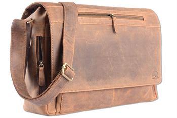WILD WOODS - Laptop Messenger Bag Vintage Leder große Umhängetasche mit 15,6 Zoll Notebook-Fach Aktentasche für Business Büro Uni in Mittelbarun