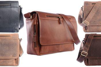 WILD WOODS - Laptop Messenger Bag Leder große Umhängetasche mit 15,6 Zoll Notebook-Fach Aktentasche für Business Büro Uni Schule