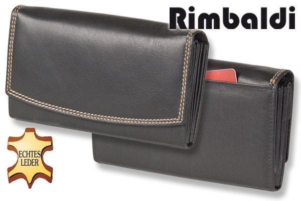 Rimbaldi® Damengeldbörse aus Rindsleder in Schwarz und Außen-Doppelnaht in Beige, mit vielen Fächern