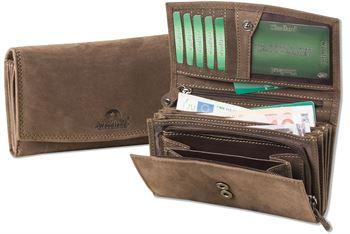 Woodland® - Große Damengeldbörse mit RFID/NFC-Blocker von Protecto®, viele Fächer aus naturbelassenem Büffelleder in Dunkelbraun/Taupe