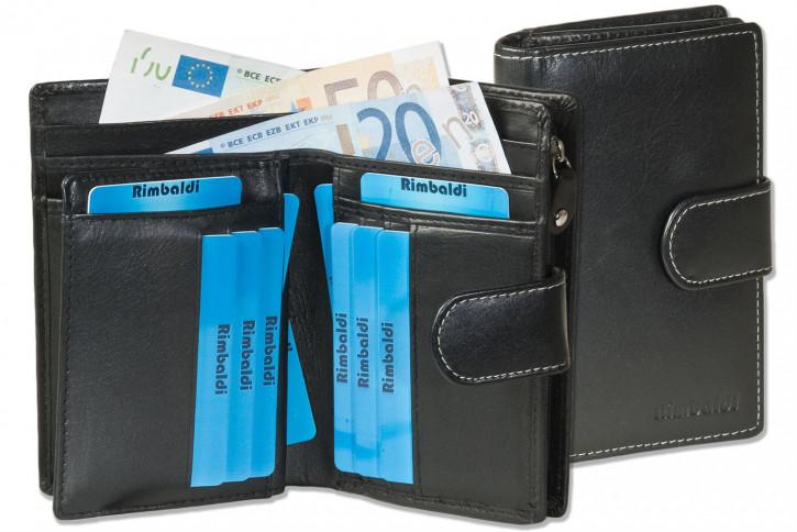 Rimbaldi® Kompakte Damengeldbörse aus feinem Rind-Nappaleder in Schwarz