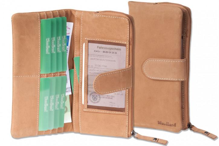 Woodland® Große Luxus Damen-Lederbörse aus naturbelassenem, weichem Büffelleder in Cognac