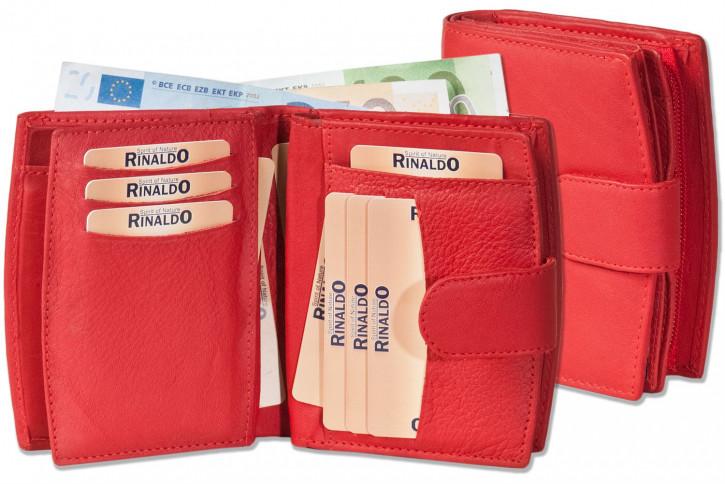 Rinaldo® Damen-Lederbörse mit sehr vielen Einsteckfächern aus weichem, naturbelassenem Rindsleder in Rot