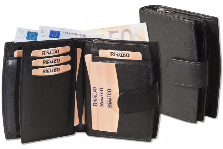 Rinaldo® Damen-Lederbörse mit sehr vielen Einsteckfächern und feinem Rind-Nappaleder in Schwarz