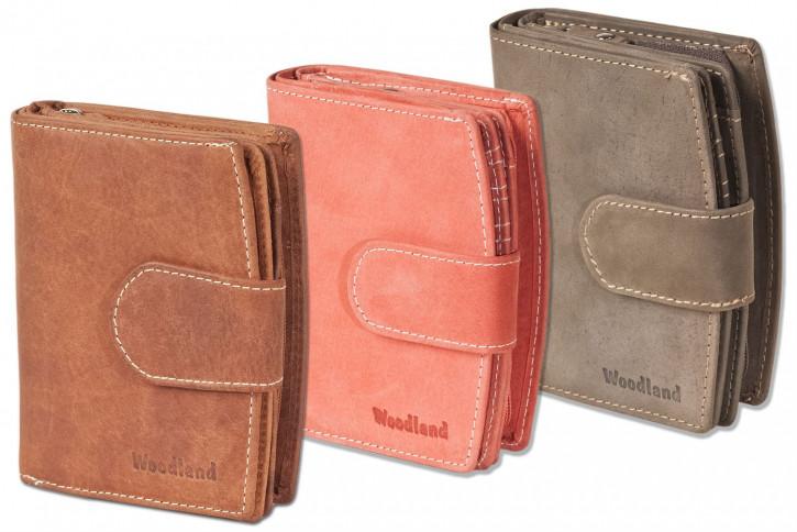 Woodland® - Kompakte Luxus-Damenbörse mit 18 Einsteckfächer/Kreditkartenfächer aus naturbelassenem Büffelleder