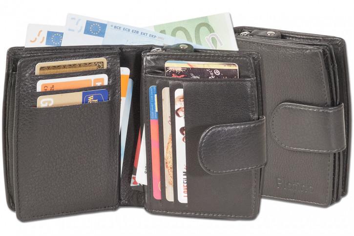 Platino - Kompakte Damenbörse mit vielen Kreditkartenfächer aus feinem, naturbelassenem Rindsleder in Schwarz