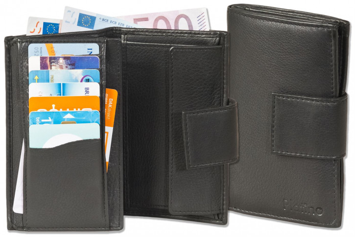 Platino - Damengeldbörse mit insgesamt 19 Einsteckfächer aus bestem naturbelassenem Rindsleder in Schwarz