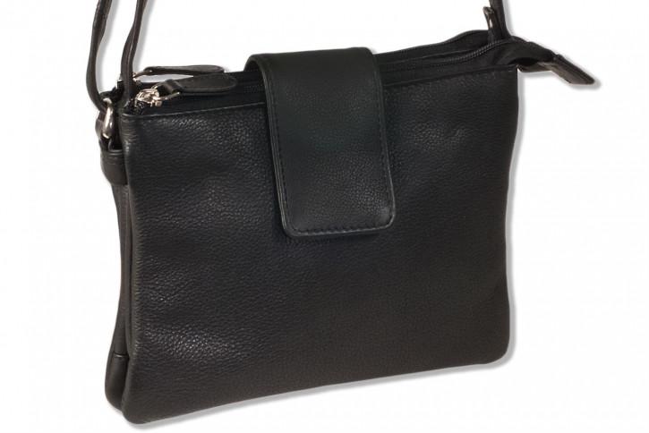 Platino - Luxus Damenhandtasche aus feinstem, weichem Rindsleder der Spitzenklasse in Schwarz