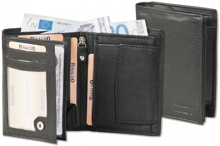 Rinaldo® Hochformat Riegel-Ledergeldbörse aus weichem Ziegenleder in Schwarz