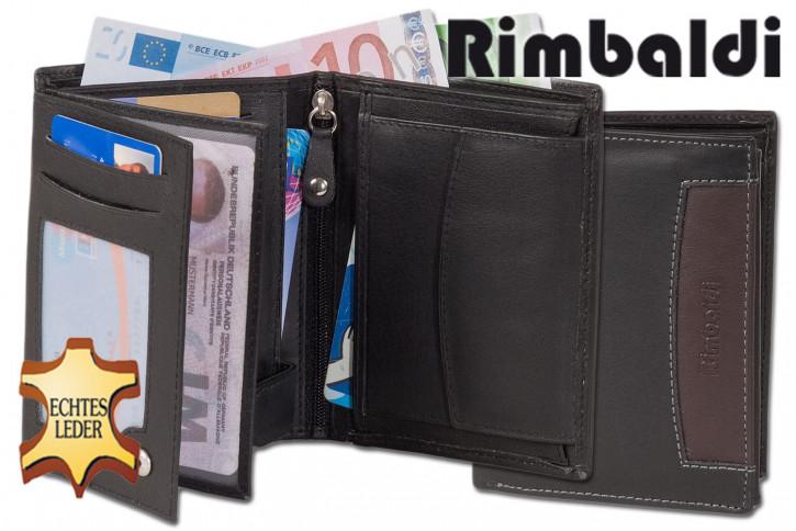 Rimbaldi® Riegelgeldbörse im Querformat aus feinem Rind-Nappaleder in Schwarz mit brauner Applikation