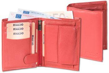 Rinaldo® Hochformat Riegelbörse mit Protecto® RFID-Blocker Schutz aus weichem Rinds-Nappaleder in Rot