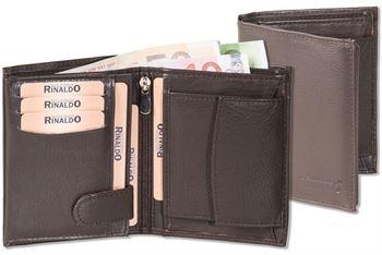 Rinaldo® Hochformat Riegelbörse mit Protecto® RFID/NFC-Blocker Schutz aus weichem Rind-Nappaleder in Dunkelbraun