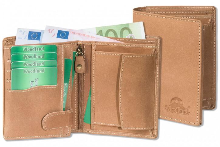 Woodland® Hochwertige Lederbörse  mit dem Protecto® RFID-Blocker Schutz im Hochformat aus naturbelassenem Büffelleder in Brown