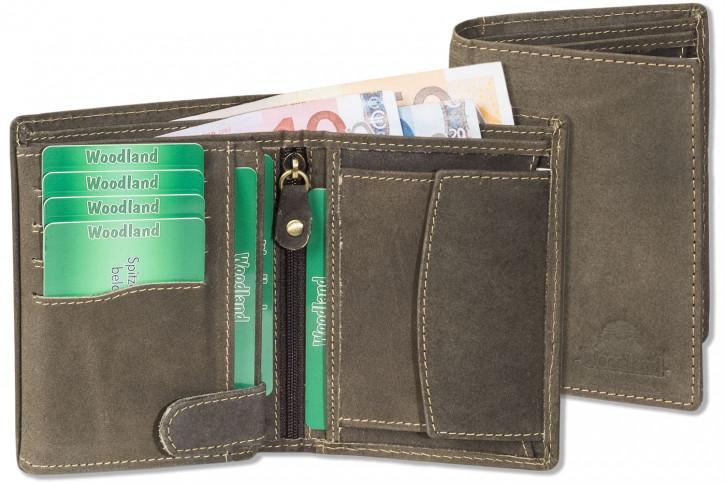 Woodland® - Hochwertige Lederbörse mit dem Protecto® RFID/NFC Blocker Schutz im Hochformat aus naturbelassenem Büffelleder in Dunkelbraun/Taupe