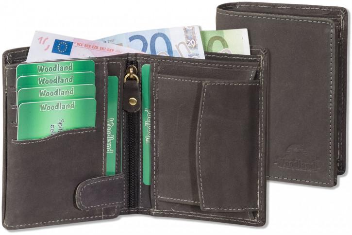 Woodland® - Hochwertige Lederbörse mit dem Protecto® RFID/NFC Blocker Schutz im Hochformat aus naturbelassenem Büffelleder in Anthrazit