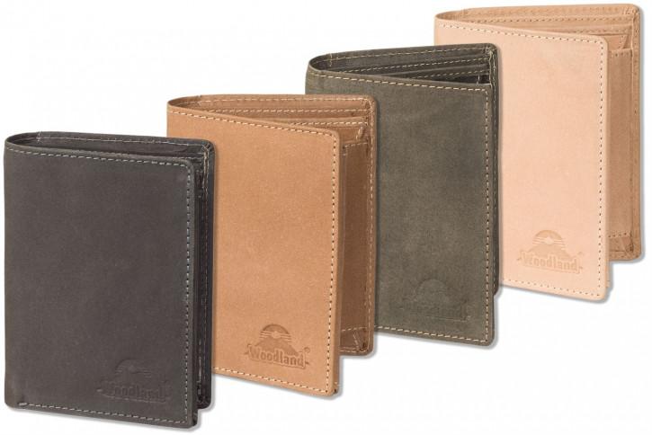 Woodland® - Hochwertige Lederbörse  im Hochformat mit dem Protecto® RFID/NFC-Blocker Schutz im Hochformat aus naturbelassenem Büffelleder