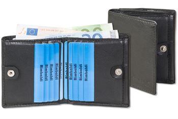 Rimbaldi® Kleine Geldbörse mit großem Hartgeldfach (Wiener Schachtel) aus Rinds-Nappaleder in Schwarz