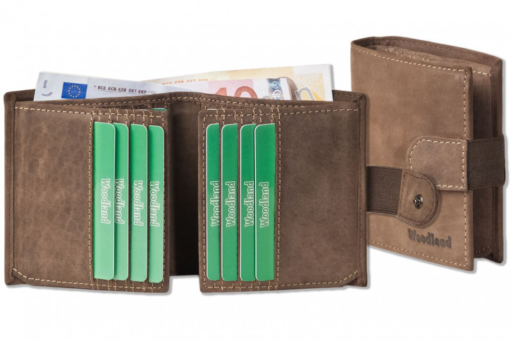 Woodland® Wallet with flat exterior coin pocket made of natural soft buffalo leather in dark brown / taupe