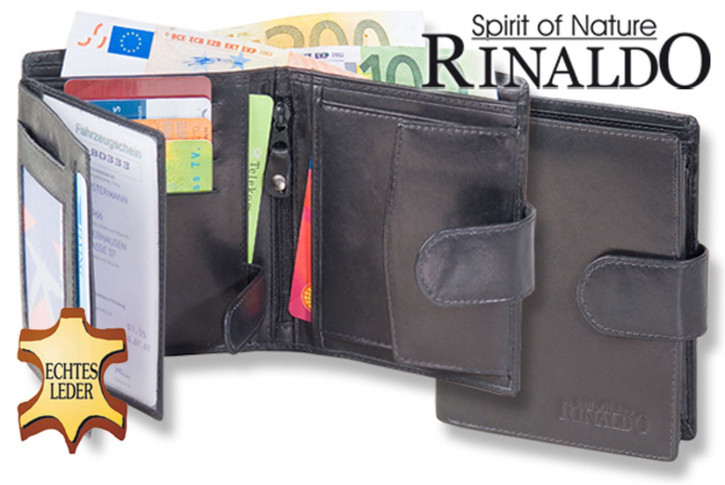 Rinaldo - Portrait format leather wallet with outer bar made of smooth, natural cowhide in black