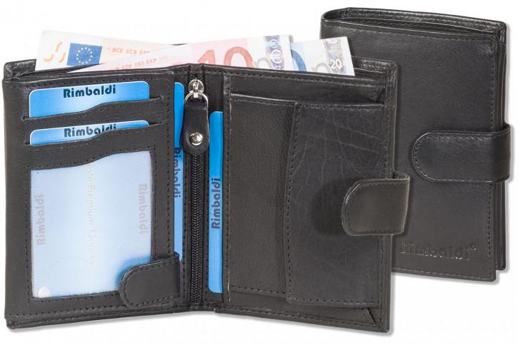Rimbaldi® Damenbörse mit Außenriegel und mit Protecto® RFID-Blocker Schutz, aus weichem Rind-Nappaleder in schwarz