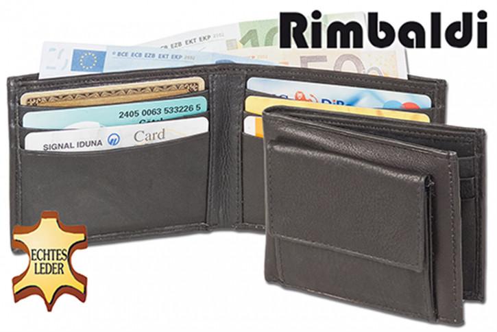 Rinaldo® Mini-Geldbörse mit Außen-Hartgeldfach aus weichem Rind-Nappaleder in Schwarz