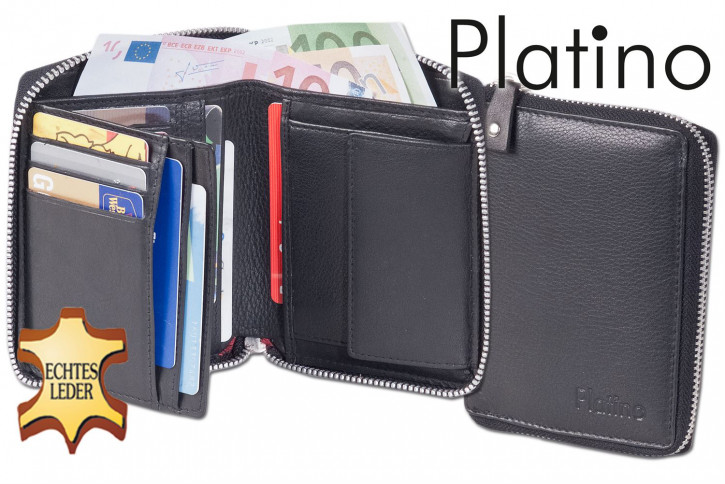 Platino - Damenbörse mit umlaufendem Metall-Reißverschluss aus feinstem Rindsleder in First-Class Qualität in Schwarz