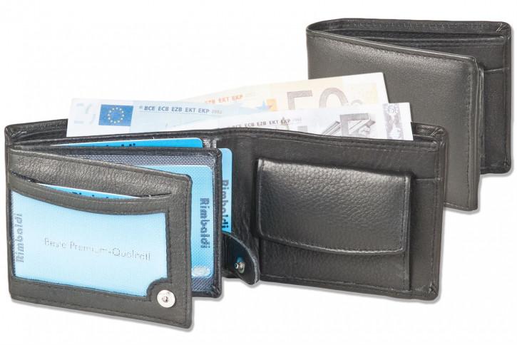 Rinaldo® Kleine Riegelgeldbörsen im Querformat aus weichem Rindsleder in Schwarz