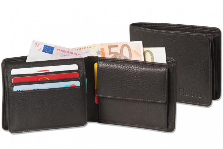 Platino - Ledergeldbörse im Querformat aus feinstem Rindsleder in First-Class Qualität in Schwarz