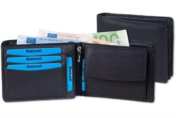 Rimbaldi® Ledergeldbörse im Querformat mit dem Protecto® RFID/NFC Blocker System aus feinem Rind-Nappaleder in Schwarz
