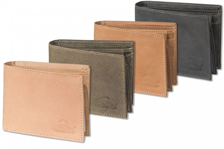 Woodland® Querformatbörse mit vielen Kreditkartenfächer aus weichem, naturbelassenem Büffelleder