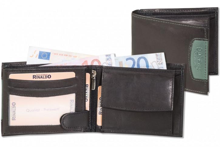 Rinaldo® Querformat Riegelbörse mit Protecto® RFID-Blocker Schutz aus glattem, naturbelassenem Rindsleder in Schwarz mit grünem Seitenstreifen