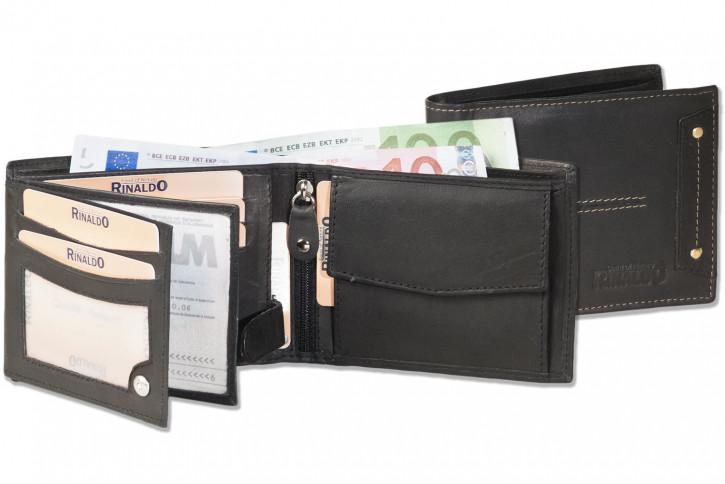 Rinaldo® Querformat Riegelbörse im neuen Design aus glattem, naturbelassenem Rindsleder in Schwarz