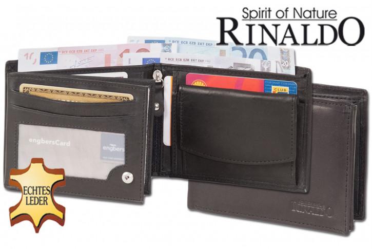 Rinaldo® Riegelgeldbörse mit besonders großen XXXL-Hartgeldfach aus glattem, naturbelassenem Rindsleder in Schwarz