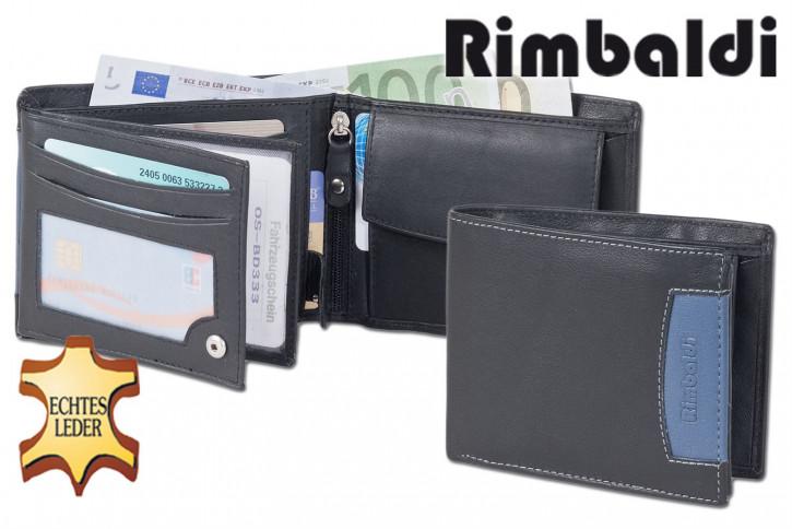 Rimbaldi® Riegelgeldbörse im Querformat aus feinem Rind-Nappaleder in Schwarz mit blauer Applikation und RFID-Ausleschutz