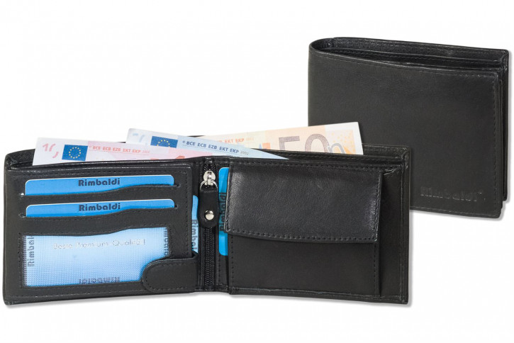Rimbaldi® Riegelgeldbörse im Querformat aus besonders weichem, naturbelassenem Rindsleder in Schwarz