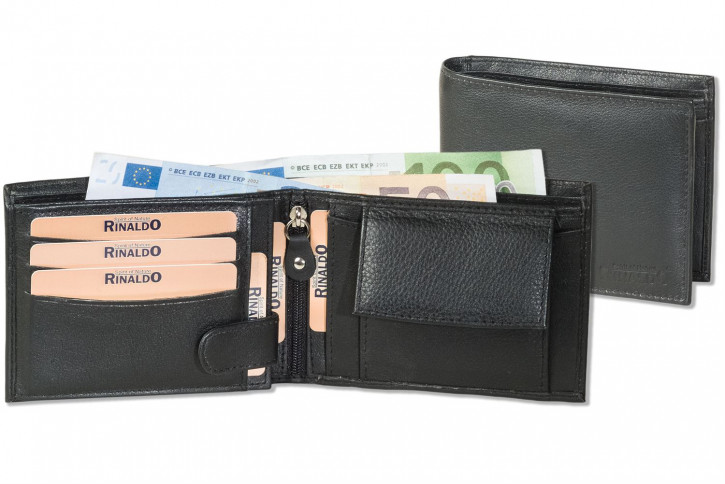 Rinaldo® Querformat Riegelbörse mit dem Protecto® RFID/NFC-Blocker Schutz aus weichem Rinds-Nappaleder in Schwarz