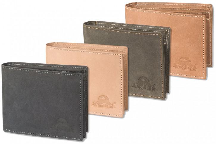 Woodland® Hochwertige Lederbörse mit dem Protecto® RFID-Blocker Schutz im Querformat aus naturbelassenem Büffelleder