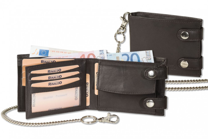 Rinaldo® Biker chain leather wallet in landscape mode and 40 cm long metal chain and cow-leather in dark-brown