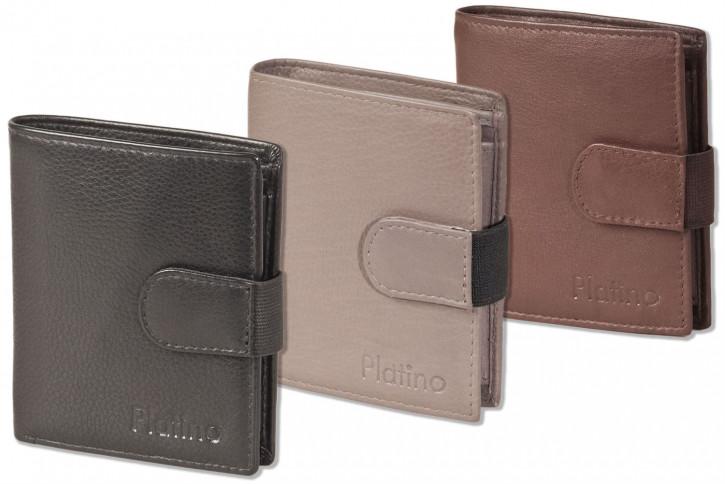 Kompakte, kleine Geldbörse mit Platz für 19 Kreditkarten aus weichem Rind-Nappaleder in Schwarz